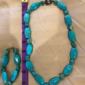 Blue turquoise like necklace and bracelet.
